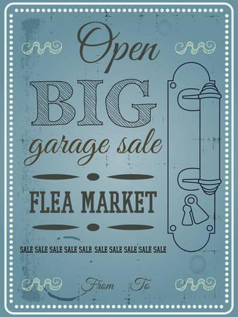 flea: Vintage poster flea market, garage sale vector