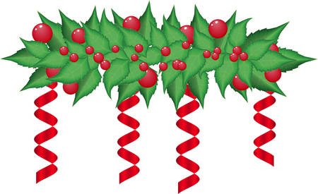 Christmas holly garland vector on a whate