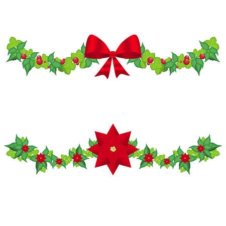 Set christmas holly garland vector on a white Vector