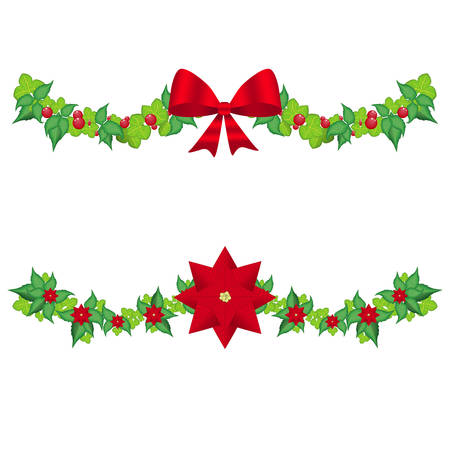 Set christmas holly garland vector on a white
