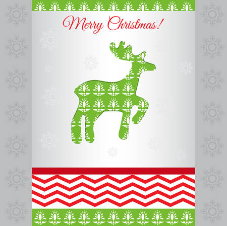 Multilayer card merry christmas with deer vector Illustration