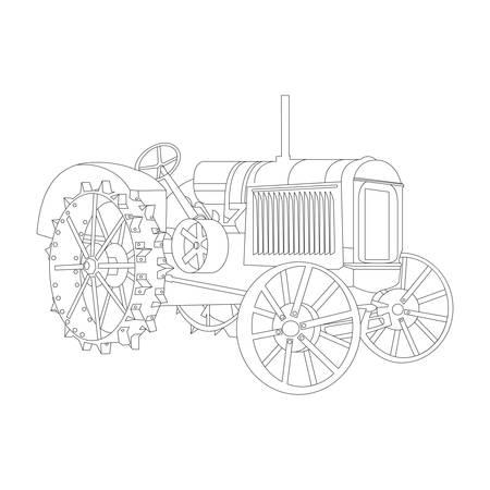 old tractor: De contouren van de oude trekker vrijlating 1932 vector