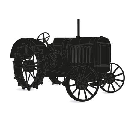 old tractor: Het silhouet van de oude tractor in zwart-wit Stock Illustratie