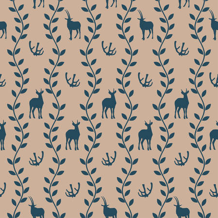hoofed animals: Seamless pattern with silhouettes of horns and hoofed animals in vintage style vector