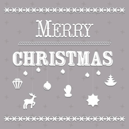 Typographic Christmas text and Design vector illustration Illustration