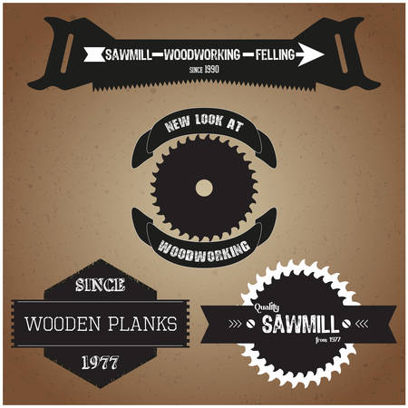 handsaw: Set of labels and  on the theme of woodworking in retro vintage style vector Illustration