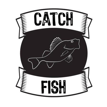 perch: Silhouette of fish bass or perch monochrome vector illustration Illustration