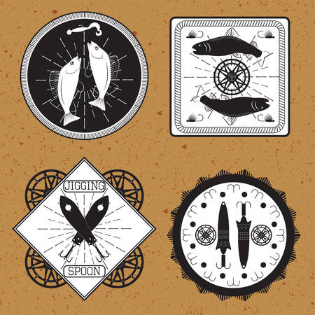 jigging: Labels on the theme of types of fishing in retro vintage style vector illustration