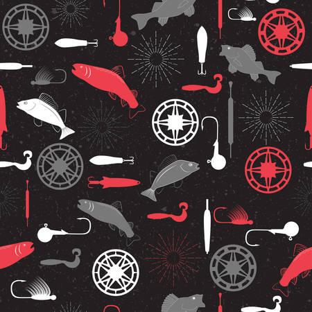 jigging: Seamless pattern on a fishing theme vector illustration