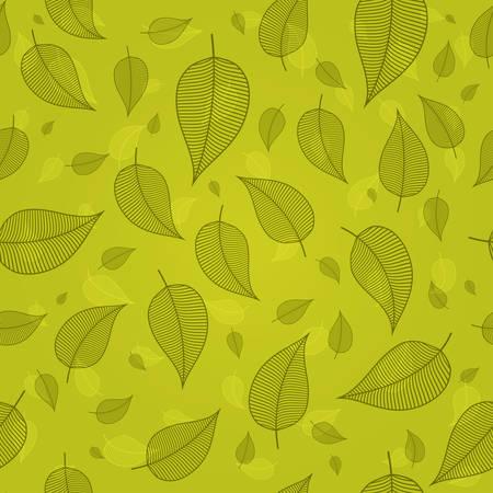Seamless pattern of skeletonized leaves in green tones vector Иллюстрация