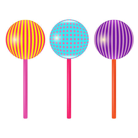 mouthwatering: Set of different mouth-watering candy colors on a stick vector