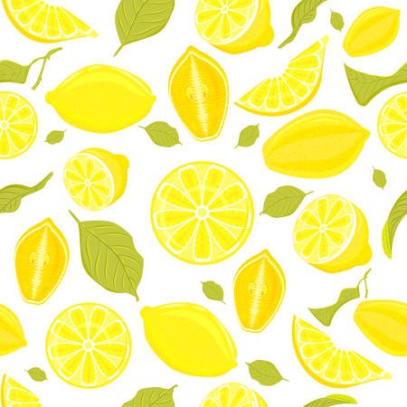 Seamless pattern of whole and cut hand drawn hands, juicy lemons and leaves vector