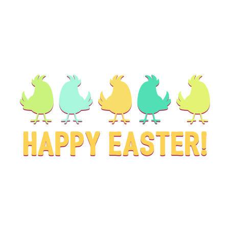 Silhouetten cartoon leuke vogels in een rij over de woorden Happy Easter vector