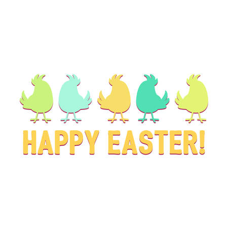 Silhouettes cartoon cute birds in a row over the words Happy Easter vector