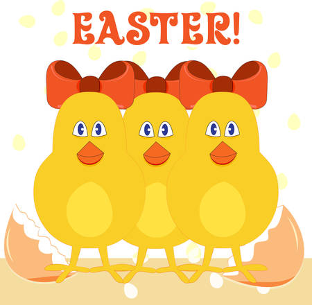Hand-drawing Easter chicks with bows vector illustration Illustration