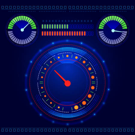 tachometer: Futuristic abstract car speedometer and tachometer on a blue background vector
