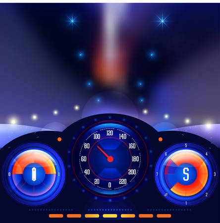 dashboard: View from inside the car on the dashboard and blurred night lights vector Illustration