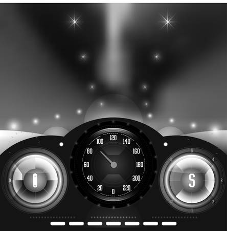 car dashboard: View from inside the car on the dashboard and blurred night lights in black and white vector