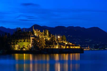 borromeo: Isola Bella. Evening view of the island Bella and Lake Maggiore. Stock Photo