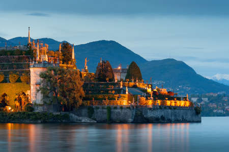 bella: Isola Bella. Evening view of the island Bella and Lake Maggiore. Stock Photo