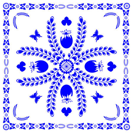 Floral pattern in the Dutch style in blue vector