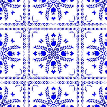 dutch tiles: Seamless pattern in the style of Dutch tiles vector Illustration