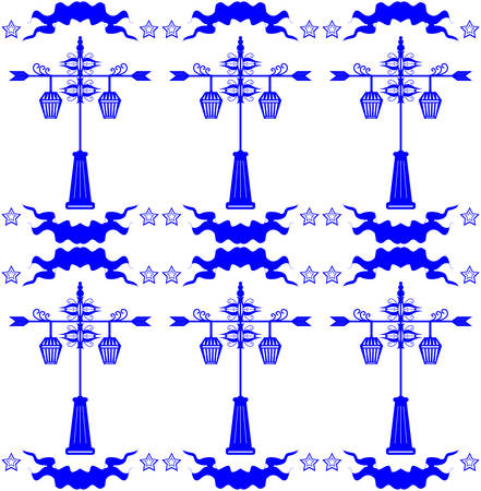 dutch tiles: Seamless pattern with streetlight in Dutch tile style blue vector