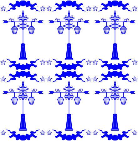 streetlight: Seamless pattern with streetlight in Dutch tile style blue vector