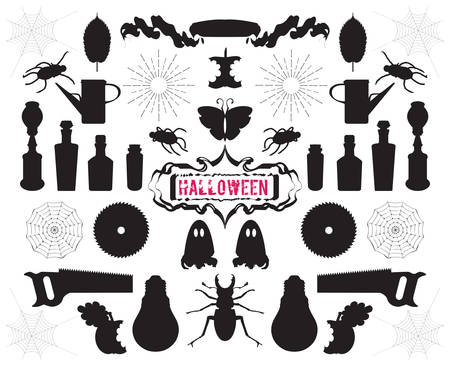 bailer: Big set of silhouettes and shapes on Halloween theme vector Illustration