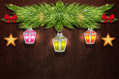 pine branch: Pine branch with Christmas decorations on a wooden background
