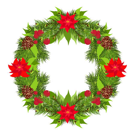pine cones: Christmas round wreath with flowers, branches and pine cones vector
