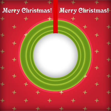 christmas border: Christmas round frame in retro style with place for text on a red background Illustration
