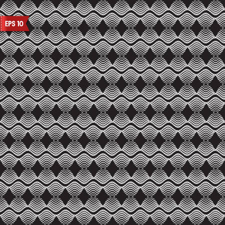 spliced: Seamless pattern knitted white lace on black background Illustration