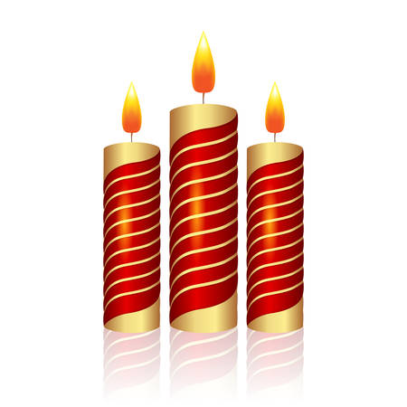 christmas candle: Realistic Christmas candle on a white background