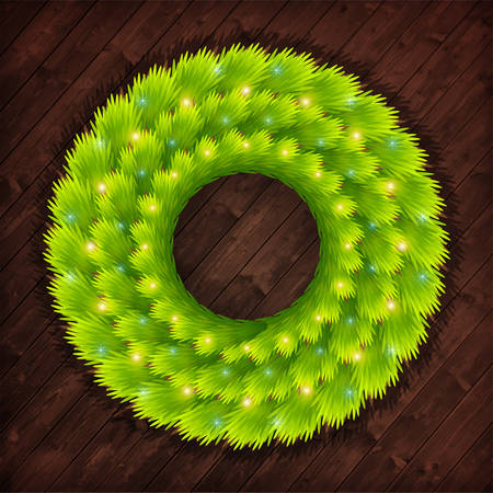 arbre     ? � feuillage persistant: Christmas wreath from the branches of an evergreen tree with glowing elements on a dark wooden background Illustration