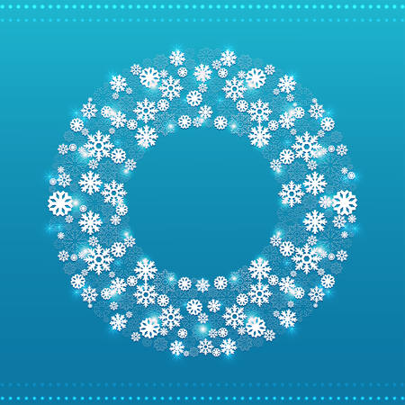 snowflakes: Christmas round frame consisting of various snowflakes and glowing elements on a blue background