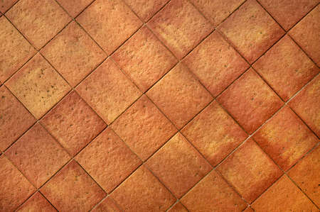 Terracotta square tiles diagonal background