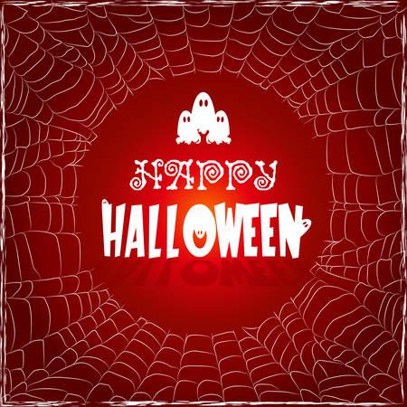 Malplaatjeframe van het web met de tekst Happy Halloween
