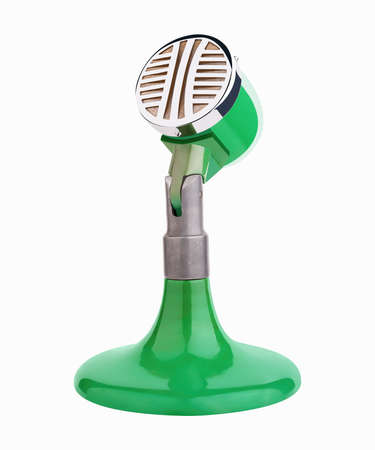 micro recording: Table old analog microphone isolated on white Stock Photo