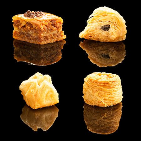Set oriental sweets isolated on a black background with realistic reflection