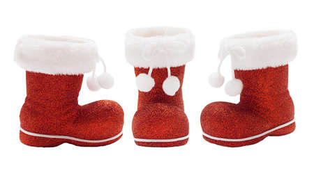 Set of empty red boots of Santa Claus isolated Stock Photo