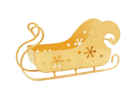Sleigh of Santa Claus gold color empty isolated on white Stock Photo