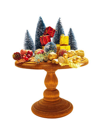 Christmas composition on cake stand isolated on white