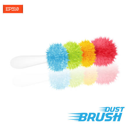 Realistic multicolored fluffy duster brush with reflection on white background isolated. Vector illustration. Illustration