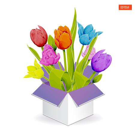 Bouquet of colorful tulips with leaves in a gift open box watercolor style on a white background. Vector illustration