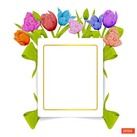 Card template in the frame of multicolored tulips with leaves in watercolor style on a white background. Vector illustration
