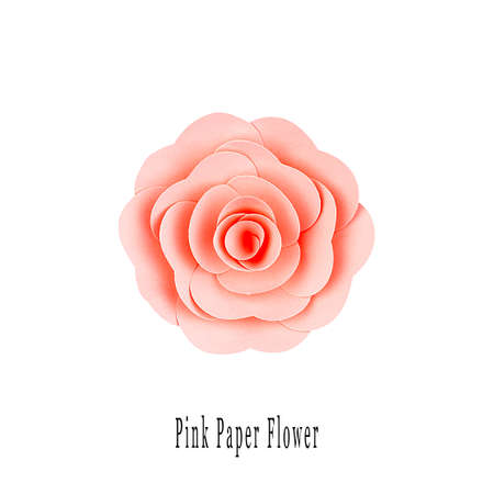 Pink paper flower handmade, top view, isolated