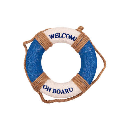 Decoration lifebuoy in blue and white isolated