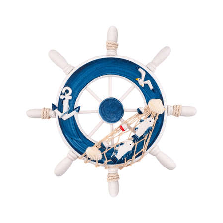 Decorative marine steering wheel in blue and white isolated