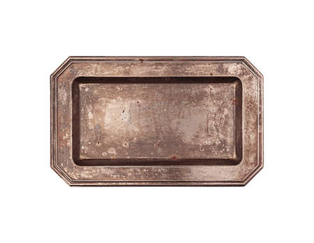 Rectangular vintage plate top view isolated